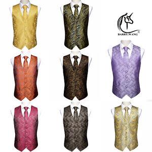 Men's Paisley Silk Waistcoat Tie Handkerchief Set Purple Red Brown suit wedding