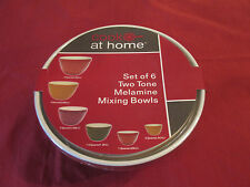 SET OF 6 MIXING BOWLS, NEW IN PKG, 2 TONE MELAMINE, ASSORTED COLORS, EASY STORAG
