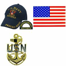 U.S. Navy Hat American Flag Sticker & USN Fouled Anchor Pin Silver & Gold Plated
