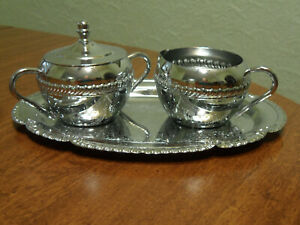Vintage Irvinware Chrome Creamer and Sugar Bowl Set with Matching Tray