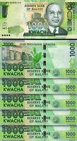 Malawi 1000 Kwacha, 2016, UNC, 5 Pcs Consecutive LOT, P-67b