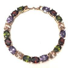 Vintage 28 Ct Multi-Color Topaz Tennis Bracelet Wedding Engagement Jewelry Gift
