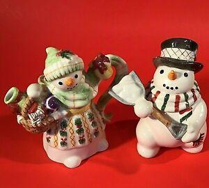 SNOWMAN CREAMER & SUGAR FITZ & FLOYD THE FLURRIES SNOWMAN SET HAND CRAFTED