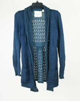 Anthropologie Angel of the North Open Crochet Cardigan Sweater Blue Small