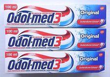 3x Odol Med 3 Original Zahncreme • Zuckersäurenschutz • 3x 100ml