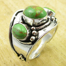 925 Silver Overlay Multi Gemstone Ring Size 9.5 GIRLS' Green Copper Turquoise