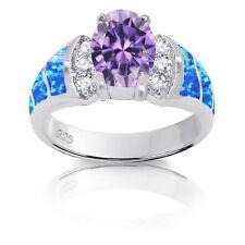 Oval Amatista Diamante Sintético Azul Australiano Ópalo de Fuego