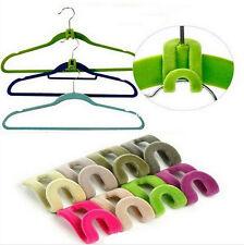 10x Home Mini Flocking Clothes Hanger Conector Hook Closet Organizer SAVE SPACE