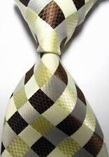 New Classic Checks Beige Brown JACQUARD WOVEN 100% Silk Men's Tie Necktie