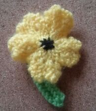 Pansy Flower ~Brooch ~ Yellow ~Hand Knitted ~ Mother's Day Spring Gift