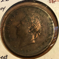 Great Britain 1 Penny 1826 Copper Collectible Coin UK Seated Britannia KM#693