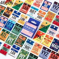 HN- USA AUS Country Airplane Pattern Sealing Sticker DIY Scrapbooking Decor 46Pc