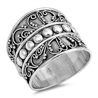 New .925 Sterling Silver Bali Bead Wide Fine Fashion Ring Sale Band Sizes 5-12