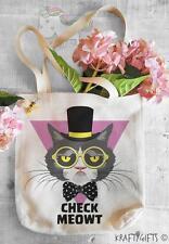 Funny Grumpy Magic Cat Humor Groceries Tote Shopping Bag for Life Shopper TB10