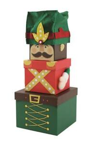 3 NUTCRACKER Gift Box Stackable Nested Storage Decoration Kids Present Party