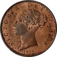GREAT BRITAIN. 1/2 Penny, 1855. London Mint. Victoria. PCGS MS-64 Red Brown.TOP5