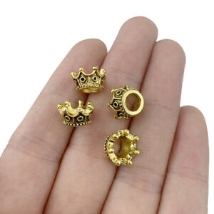 20 x Antique Gold Tone 3D Crown Charms for Bracelet Necklace Jewellery Making