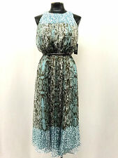VINCE CAMUTO Dress Blue Brown Animal Print Pleated Lined Belted Szie 4 MyAFC