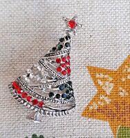 Spilla Albero di Natale con Strass Rossi Blu e Brillanti su Silvertone