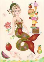 MERMAID DINER BURGER CAFE BED & BREAKFAST CHEF COOK NAUTICAL BOTANICAL PAINTING
