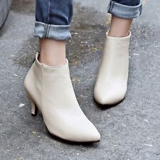 Womens Pointed Toe Kitten Ankle Boots Mid Heels Chelsea Casual Classic Lady Shoe