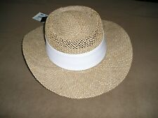 New Peter Grimm Straw Sun Hat w/White Hat Band Size 8