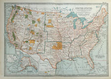 Antique Map Of United States USA America     1903