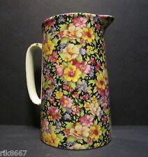 Heron Cross Pottery SUMMER MEADOW (black B/G) Chintz English 2 Pint Milk Jug
