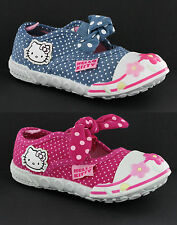 Hello Kitty Freizeit Elastisch Mädchen Kleinkinder Leinen Turnschuhe UK4-10
