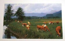 VTG 1950s CALENDAR ART LITHOGRAPH PRINT COWS ON FARM RICH MEADOWS