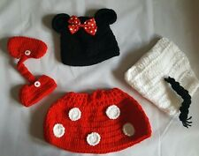 Crochet Minnie Mouse Photo Prop Infant Baby Set Halloween Costume Hat shoes USA
