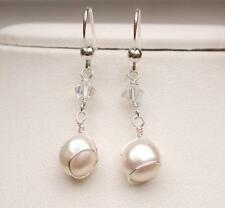 DESIGNER FRESHWATER PEARL WEDDING EARRINGS STERLING SILVER WIRE WRAPPED
