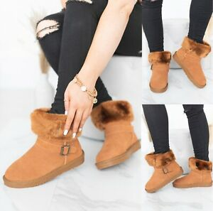 LADIES WOMENS FLAT ANKLE FAUX FUR LINED WARM WINTER BUCKLE SNUG SHOES BOOTS SIZE