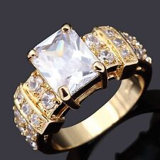Solitaire Size 9 Woman White Sapphire AAA 18K Gold Filled Band Anniversary Rings