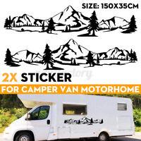 Mountains & Trees Side Body Sticker Stripes Vinyl Decal Motorhome Camper Van RV