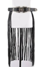 FASHION STYLISH TRENDY FRINGE DOUBLE BUCKLE PU CURTAIN LONG BELT