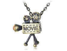 Proyector de película inspirada en la vieja escuela Carrete película oro Tono Pequeño Colgante Collar