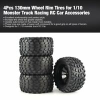 4 Pcs 130mm Wheel Rim Tires for 1/10 Monster Truck Racing RC Car Accessories
