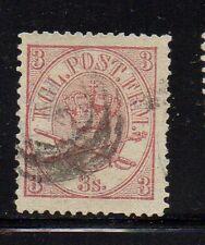 Denmark Sc 12 1865 3 sk red violet Royal Emblems stamp used Free Shipping
