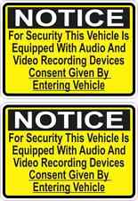 3.5 x 2.5 Audio Video Recording Consent Stickers Car Truck Vehicle Bumper Decal