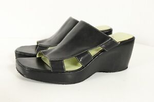 Circa Joan David Sandal Shoe Slip On Black Leather Wedge Heel Sz 6-1/2 Open Toe