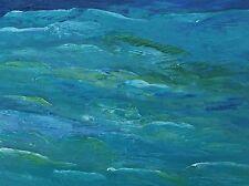 "DEEP BLUE GREEN SEA Original Palette Knife Oil Painting 9""x12"" Julia Garcia Art"