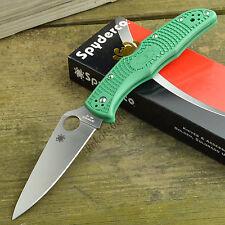 Spyderco Endura 4 FFG Plain Edge Green FRN Lockback Knife C10FPGR