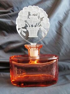 Bohemian INTAGLIO Rosaline GLASS PERFUME BOTTLE Stopper Art Deco 1930's