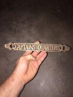 "Captains Quarters Solid Metal Cast Iron Brass Finish Plaque 12"" Sailor Navy Boat"