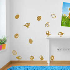 Uova di Pasqua pulcini volatili Set di Decalcomanie Adesivo Muro Finestra bambini arredamento colorato A150