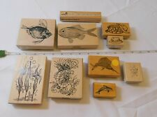 Lot of Misc Wood Mount Stamp Set includes 10 rubber stamps Scrap-booking Fishing