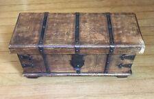 VIntage Wooden Trunk Treasure Chest Jewelry Trinket Box 15  6.5  6 Metal work
