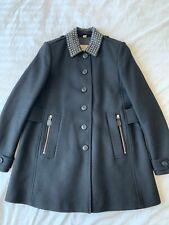Burberry Brit Black Studded Leather Collar Wool Classic Coat Jacket Size USA 4