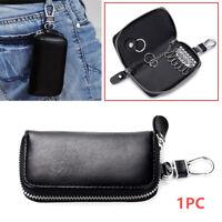 1PC Cowhide Leather Car Remote Key Holder Home Key Chain Organizer Zipper Case